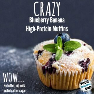 Crazy high-protein Blueberry Banana Muffins