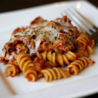 4 Ingredient Tomato Sausage Pasta Bake