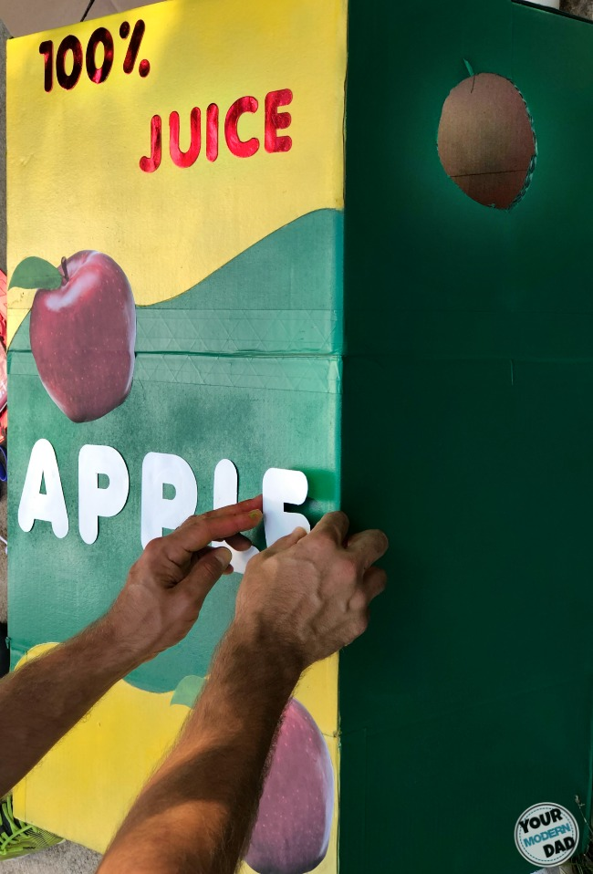 DIY apple juice box costume
